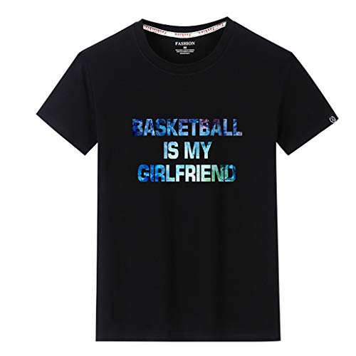 KLGDA Men's Casual Gradient Word Printed Fashion Patchwork Round Neck Short Sleeve T-Shirt Top Black