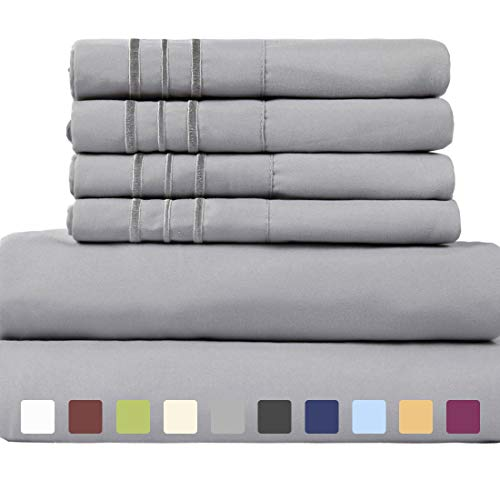 EASELAND 6-Pieces 1800 Thread Count Microfiber Bed Sheet Set-Wrinkle & Fade Resistant,Deep Pocket,Hypoallergenic Bedding Set,California (Cal King 6 Piece Bedding)