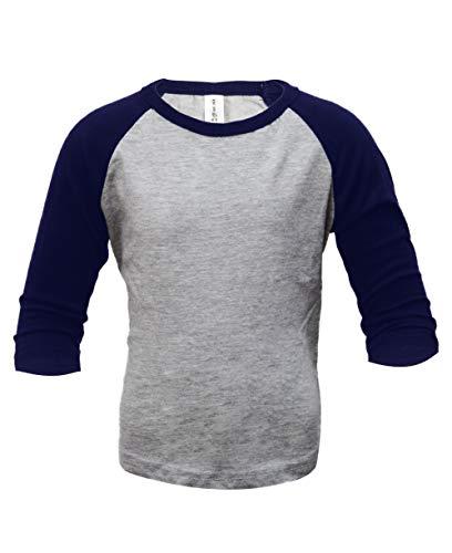 ILTEX Kids Baseball Raglan T-Shirt 3/4 Infant/Toddler/Youth (8 Years, H.Gray/Navy)