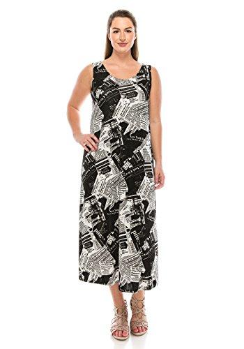Jostar Women's Stretchy Long Tank Dress Print Large Black ()