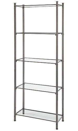 Amazon.com: 5 Glass Shelves Raw Steel finished Boutique Etagere 12 1 ...