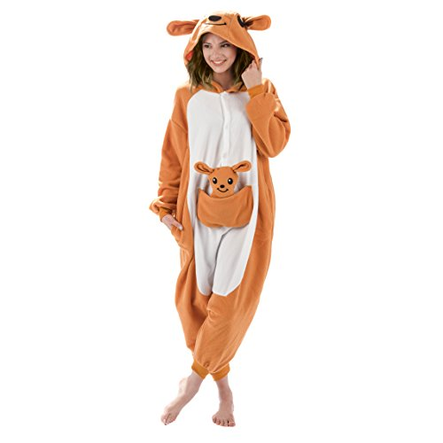 Adult Onesies Kigurumi Cosplay Costume: Kangaroo Hood Animal Onesie Furries Pajamas for Men & Women (x-large)