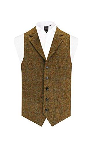 Harris Tweed Mens Rust Tweed Vest Regular Fit 100% Wool 5 Button Windowpane Check Notch Lapel Waistcoat-M (38-40in)