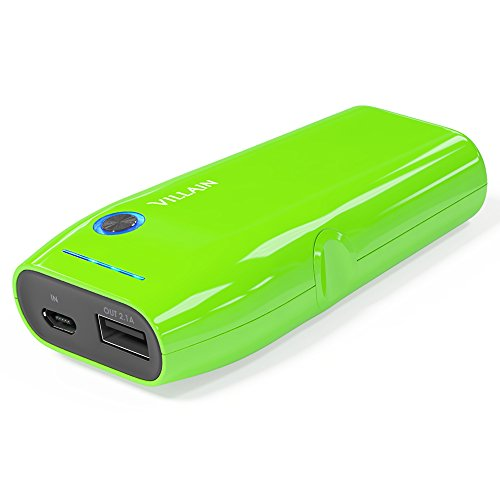 Villain Portable Power Bank Battery Charger - 5000mAh Original LG Battery Cells - Extra Lightweight (120g) with Compact Pocket Size - Fast Charging at 2.1 A - LED Indicator & Ergonomic Design [Green]