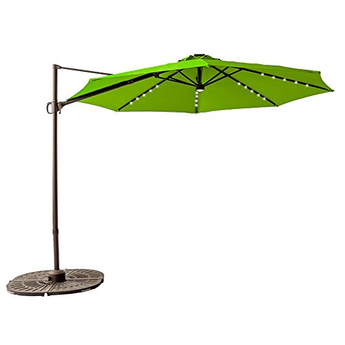 FLAME&SHADE 10' LED Outdoor Offset Cantilever Umbrella, Hanging Patio Parasol, Infinite Tilting, 360° Rotation Axis, Cross Base, Apple Green