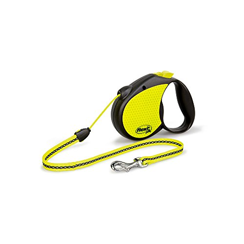Flexi Compact - Flexi Neon Retractable Dog Leash (Cord) 16 ft, Medium, Black/Neon