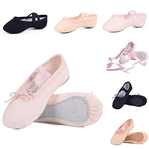 Ruqiji Ballet Shoes for Girls/Toddlers/Kids, Black Canvas Ballet Shoes/Pink Ballet Slippers/Dance Shoes ()
