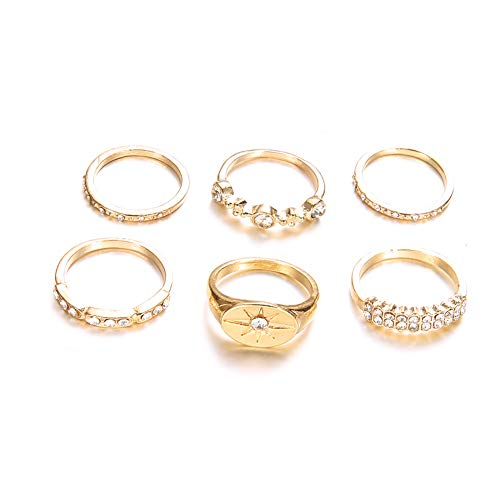 DesirePath Ladies/Teen Girls 6 Pcs Various Types Band Crystal Joint Knuckle Nail Ring Set Finger Rings Punk Ring Gift Golden
