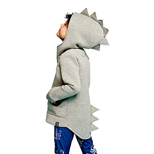 SLLSKY Toddler Boy's Cotton Blend Duffle Hoodies Fleece Dinosaur Coats Grey 5T by SLLSKY
