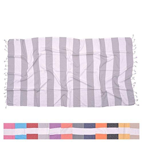 Biarritz Light Grey Turkish Towel for Bath & Beach - Swimming Pool - Yoga Pilates - Picnic Blanket - Scarf Wrap - Peshtemal Hammam Fouta by The Riviera Towel Company
