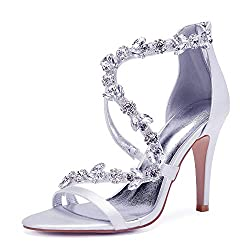 Open Toe Zipper Back Strap High Heel White Sandals