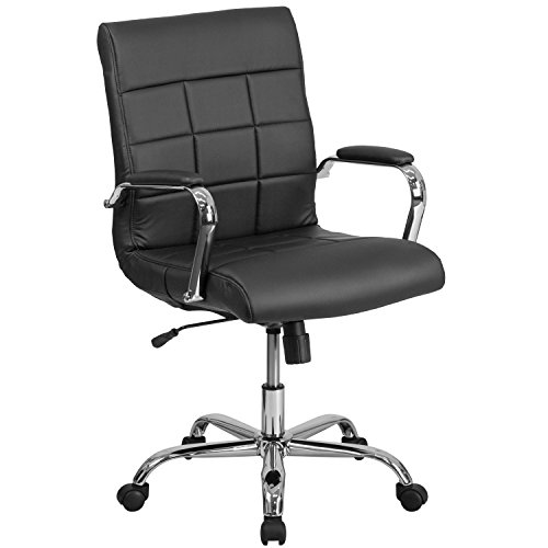 Flash Furniture Mid-Back Black Vinyl Executive Swivel Chair with Chrome Base and Arms by Flash Furniture