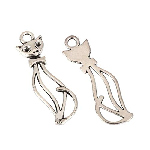 10 x Kitty Cat Charms 30x10mm Antique Silver Tone for Bracelets Necklace Earrings #MCZ181