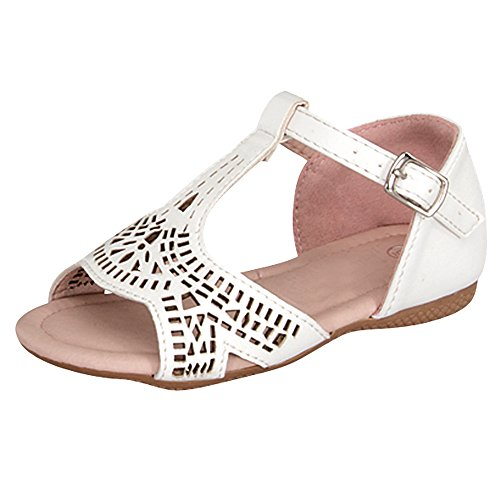 Little Baby Girls Gladiator Laser Cut Out Flat Sandals (4, White)