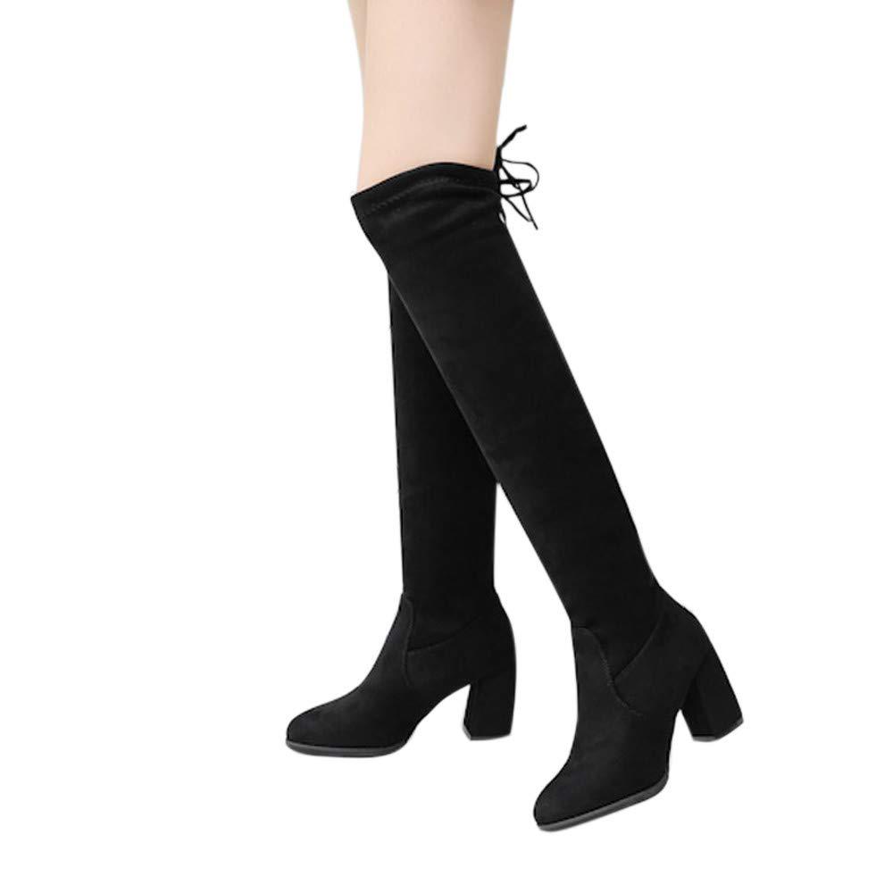 Geili Damen Stiefel Overknees mit Blockabsatz Schleifen Frauen Elegante Wildleder Schnü ren Plateau High Boots Winterschuhe Langschaft High Heels Stiefel Schwarz