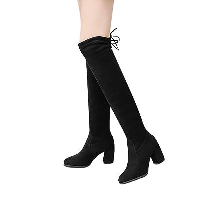636a8071d2c50 Deloito Damen Sexy Über Das Knie Stiefel Schnüren Dünne High Heels Schuhe  Schnüren Winter Stiefel (