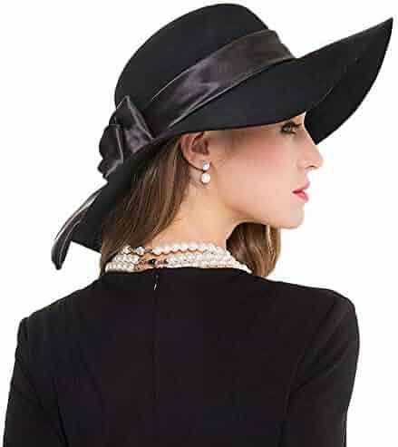 cf7f7291e9c FADVES Ladies Large Brim Bowknot Wool Felt Fedora Hats Winter Bowler Cloche  Caps