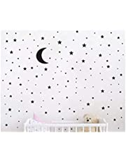 Magic Star & Moon wall stickers Colorful Animals Horse Stars Wall Decals For Kids Girls Room DIY Poster Wallpaper Home Decor wall stickers for Bedoom,Living Room,Black-s