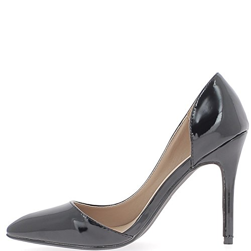 Mujer pintados de 10 lado tacón 5 abierto zapatos negro fuerte cm C4CrnwS