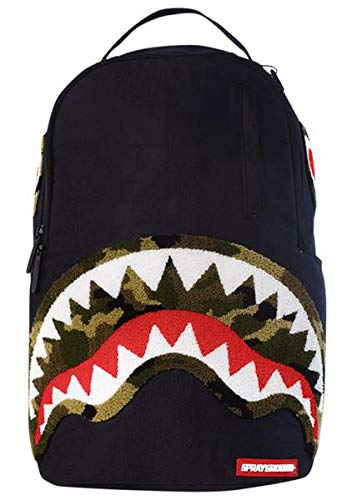 Sprayground Camo Chenille Shark Backpack (O/S, Black/Green) by Sprayground