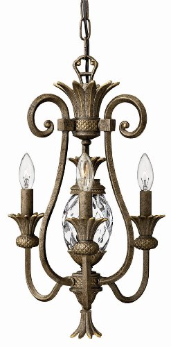 Hinkley 4103PZ Traditional Three Light Chandelier from Plantation collection in Bronze/Darkfinish,