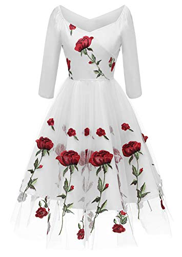 ANCHOVY Womens 1950s Vintage Rose Embroidered Lace Dress Rockabilly Party Dress C81 (White, M)