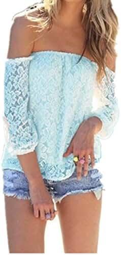 ZANZEA Women's Sexy Lace Crochet Off Shoulder Long Sleeve Casual Blouse Tops