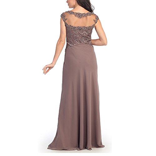 Abwedding mujer cuello larga de madre gris manga redondo noche vestidos rZrq7P
