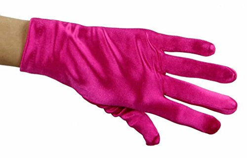 (Greatlookz Beautiful Wrist Length Short Satin Gloves in Hot Pink )