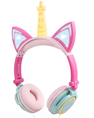 Kids Headphones Girls Wired, Headset for Children with LED Cat Ear, On Ear Headphones for Kids with 3.5mm Jack, Foldable and Adjustable Headset for School Travel (Yellow Follow)