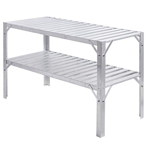 LHONE Aluminum Workbench Oranizer Greenhouse Prepare Work Potting Table Storage Garage Shelves Silver