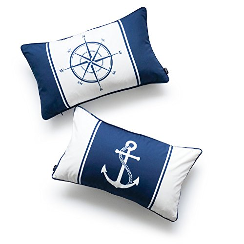 Hofdeco Decorative Lumbar Pillow Cover OUTDOOR WATER RESISTANT Canvas Nautical Navy Blue Compass Anchor 12