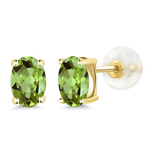 Gem Stone King 1.00 Ct Oval 6x4mm Green Peridot 14K Yellow Gold Stud Earrings
