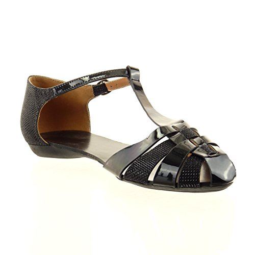 Sopily - damen Mode Schuhe Sandalen T-Spange Patent glitzer - Schwarz