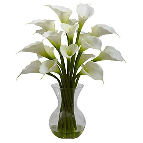 White-Galla-Calla-Lily-with-Vase-Silk-Flower-Arrangement