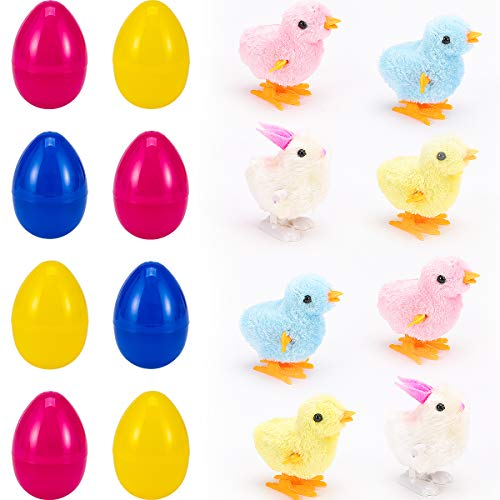 Cosweet 8pcs Large Easter Eggs Filled Wind Up Chicks and Bunnies Perfect for Easter Eggs Hunting