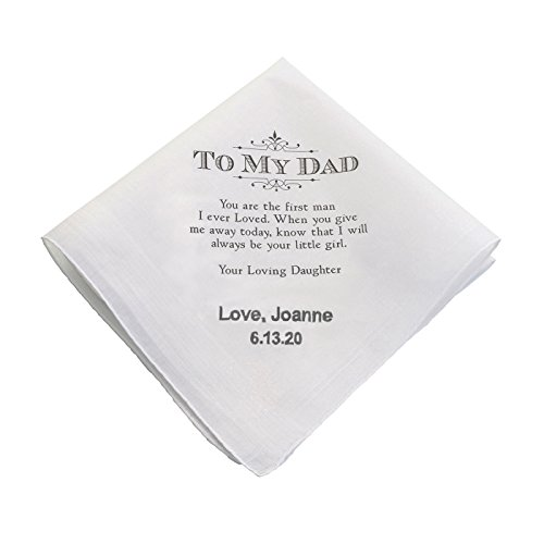(Lillian Rose PERSONALIZED Dad (Father of the Bride) Wedding White Cotton Keepsake Hankie Handkerchief)
