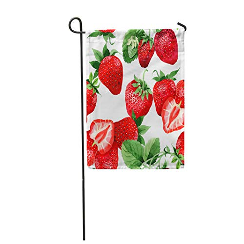 Semtomn Garden Flag Strawberry Healthy Food Pattern in Watercolor Full Name 28