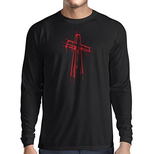 lepni.me Men's T-Shirt Distressed Holy Cross - Religious Gift Ideas. Christian Religion Apparel, Jesus Resurrection (Medium Black Multi Color)