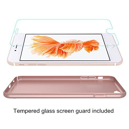 Funda Samsung Galaxy S4, Caso con [Protector de Pantalla de Cristal Templado] [Ultra-Delgado] [Ligera] Anti-Rasguño y Anti-Huellas Dactilares Totalmente Protectora Estuche de Plástico Duro -Rosa Rosa