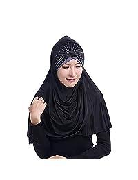 Womens Elegant Muslim Hijab Crystal Islamic Ramadan Amira Turkish Headscarf