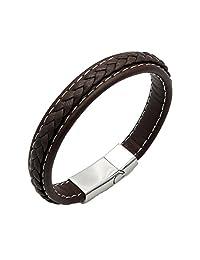 Baoli Brown Geniune Leather Magnetic Clasp Bangle Bracelet (215)