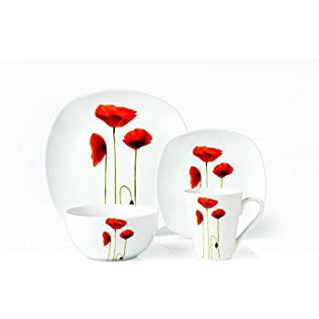 Brilliant - Sonata Square 16 Piece Dinnerware Set Service for 4  sc 1 st  Amazon.com : poppy dinnerware - pezcame.com