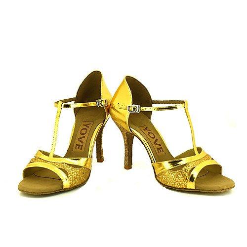 T.T-Q Frauen Beruf Tanzschuhe Gold Latin Sandalen Salsa Jazz Tango Swing Praxis Indoor-Performance  36|Gold