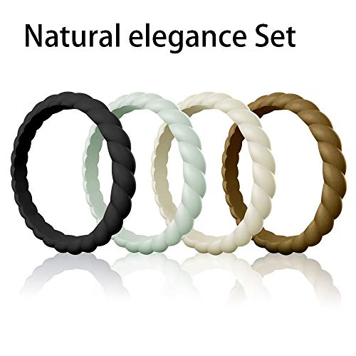 - Egnaro Silicone Wedding Ring for Women, Stackable Braided Rubber Weeding Rings Bands fit Travel Sports Working - Size 4 5 6 7 8 9