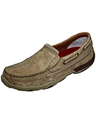 Twisted X Youths Leather Slip-On Rubber Sole Driving Moccasins - Dusty Tan