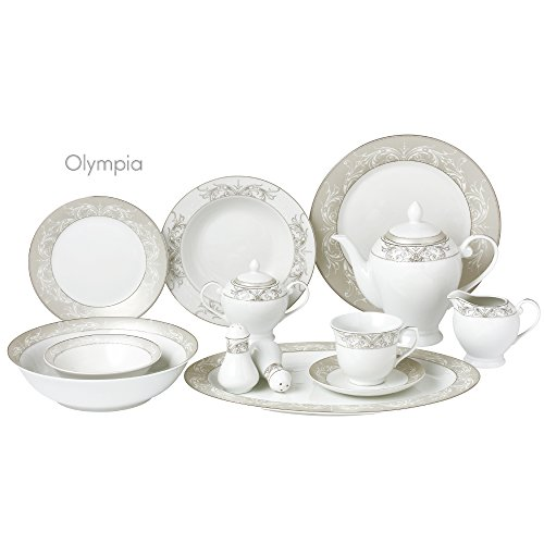 Silver Wide Border - Lorren Home Trends Olympia-57 57 Piece Silver Border Porcelain Dinnerware Set-Service for 8-Olympia-Mix and Match, One Size, White