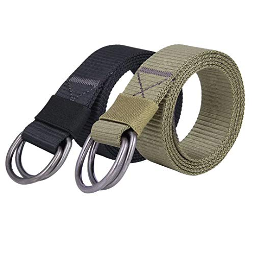 JINIU Military Nylon Belts for Men Women Web Style Strong Double D Ring Buckle Belt