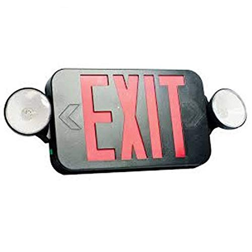 Double Face LED Combination Exit Sign - LED Lamp Heads Red Letters - 90 Min. Operation - Black - 120/277 Volt - Fulham FHEC30BR
