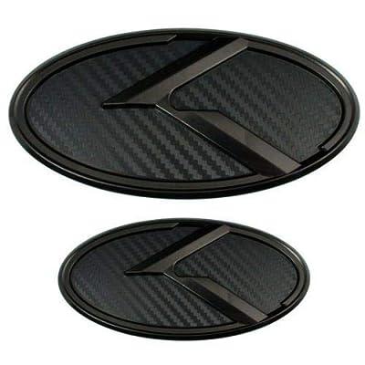 Xitek KA-S2MCB 2X New Black Carbon Fiber K Front Hood Trunk Rear Logo Badge Emblem Fit KI OPTIMA K5 2011-2020: Automotive